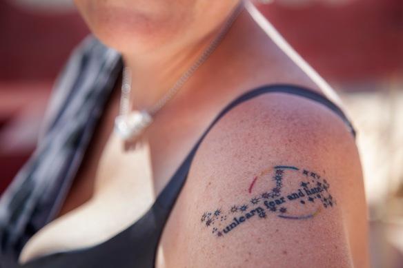 "Susan Grabowski's ""unlearn fear and hate"" (photograph by Kurt Gohde and Kremena Todorova)"
